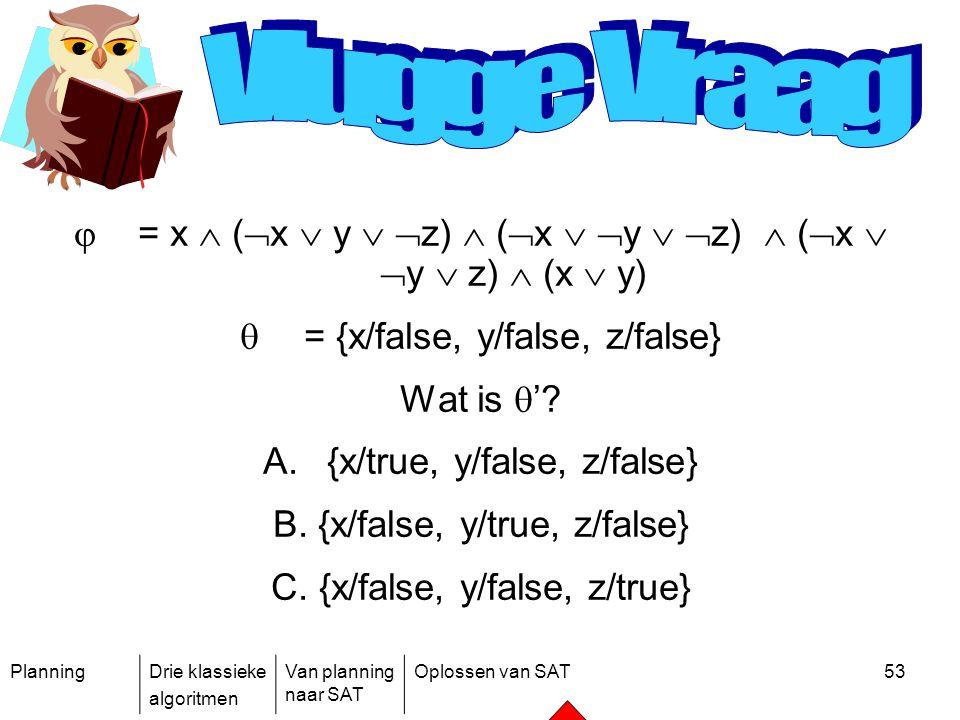 PlanningDrie klassieke algoritmen Van planning naar SAT Oplossen van SAT53  = x  (  x  y   z)  (  x   y   z)  (  x   y  z)  (x  y)