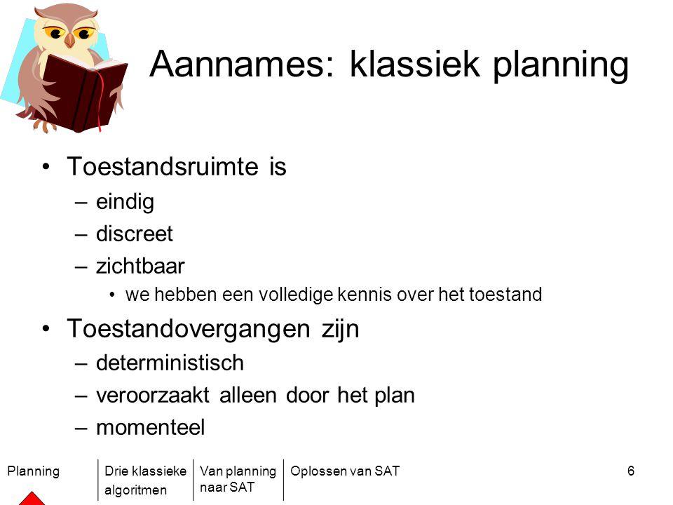 PlanningDrie klassieke algoritmen Van planning naar SAT Oplossen van SAT6 Aannames: klassiek planning Toestandsruimte is –eindig –discreet –zichtbaar