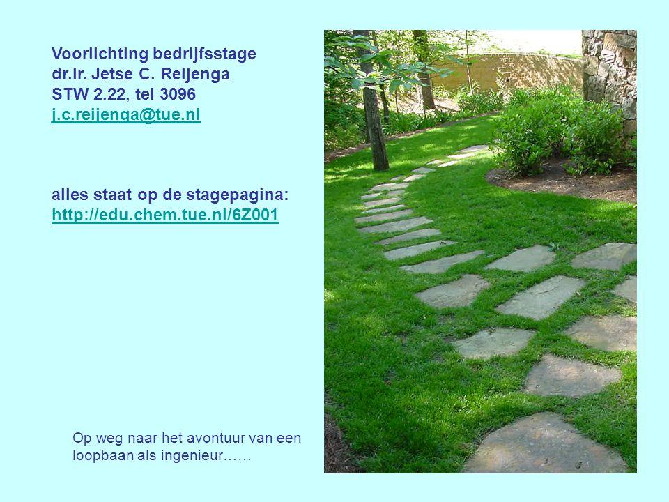 Voorlichting bedrijfsstage dr.ir. Jetse C. Reijenga STW 2.22, tel 3096 j.c.reijenga@tue.nl alles staat op de stagepagina: http://edu.chem.tue.nl/6Z001