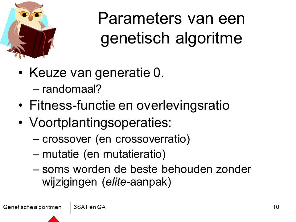 Genetische algoritmen3SAT en GA10 Parameters van een genetisch algoritme Keuze van generatie 0.