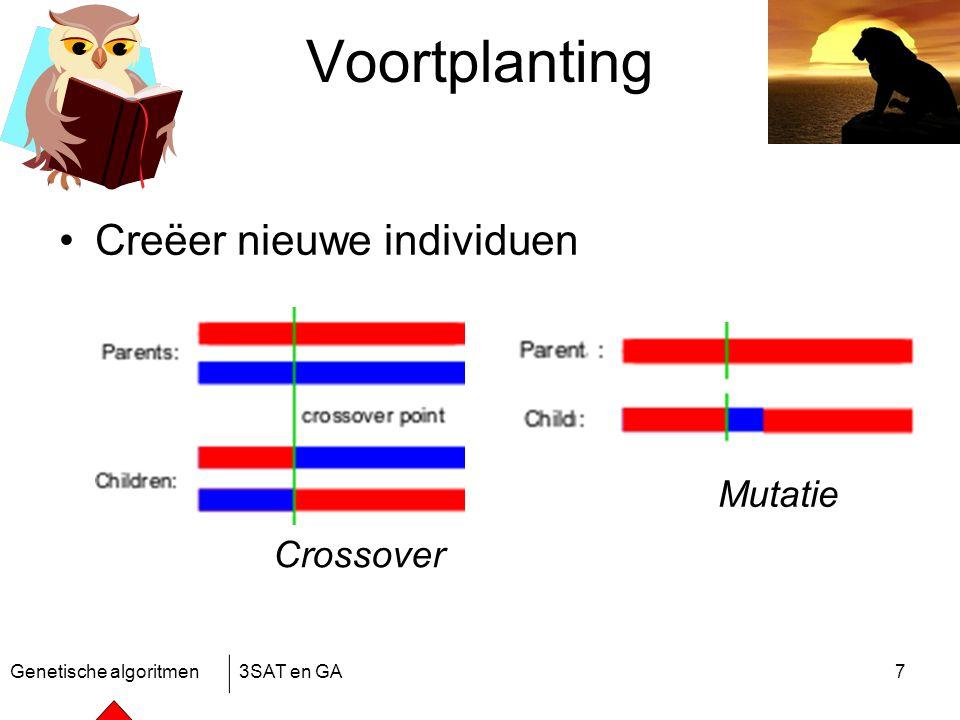 Genetische algoritmen3SAT en GA7 Voortplanting Creëer nieuwe individuen Crossover Mutatie