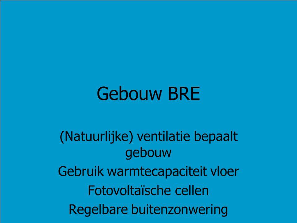 Gebouw BRE (Natuurlijke) ventilatie bepaalt gebouw Gebruik warmtecapaciteit vloer Fotovoltaïsche cellen Regelbare buitenzonwering