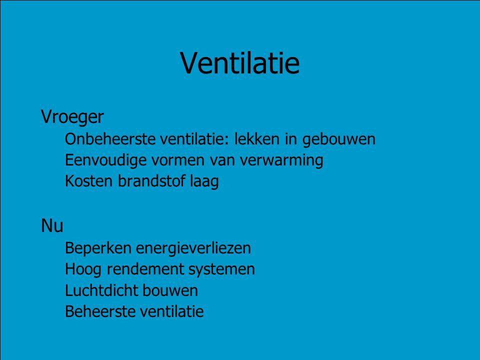 Ventilatie Vroeger Onbeheerste ventilatie: lekken in gebouwen Eenvoudige vormen van verwarming Kosten brandstof laag Nu Beperken energieverliezen Hoog