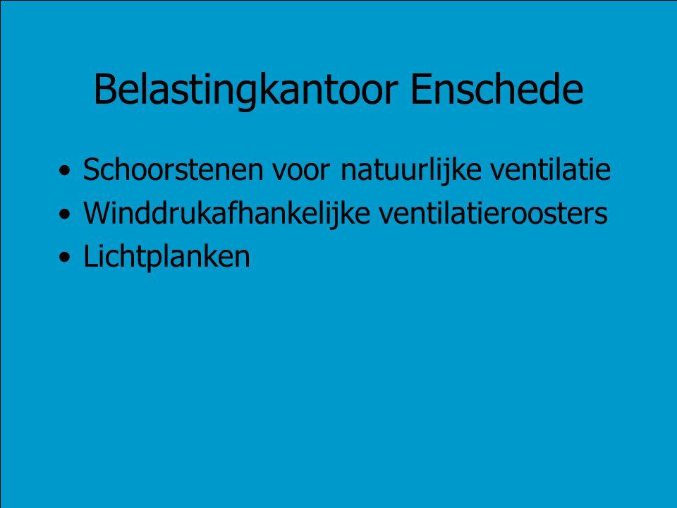 Belastingkantoor Enschede Schoorstenen voor natuurlijke ventilatie Winddrukafhankelijke ventilatieroosters Lichtplanken