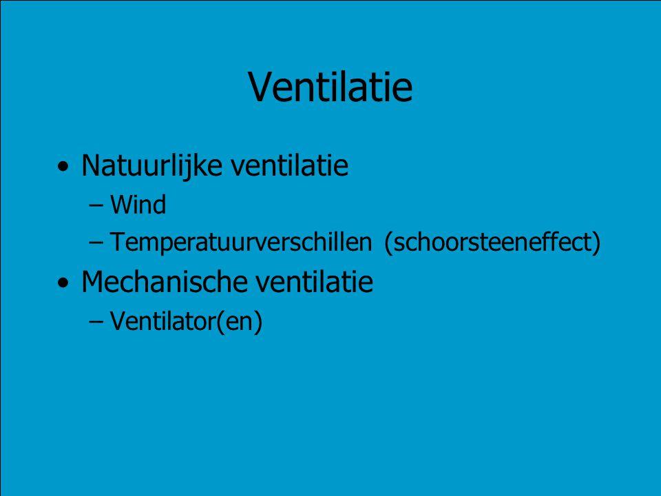 Ventilatie Natuurlijke ventilatie –Wind –Temperatuurverschillen (schoorsteeneffect) Mechanische ventilatie –Ventilator(en)