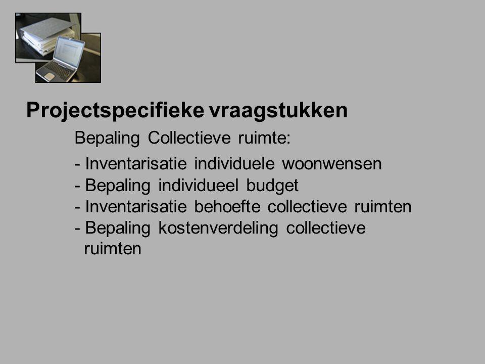 Projectspecifieke vraagstukken Bepaling Collectieve ruimte: - Inventarisatie individuele woonwensen - Bepaling individueel budget - Inventarisatie behoefte collectieve ruimten - Bepaling kostenverdeling collectieve ruimten