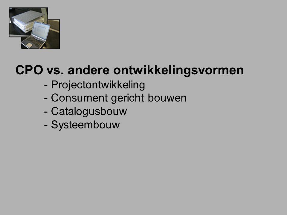 CPO vs. andere ontwikkelingsvormen - Projectontwikkeling - Consument gericht bouwen - Catalogusbouw - Systeembouw