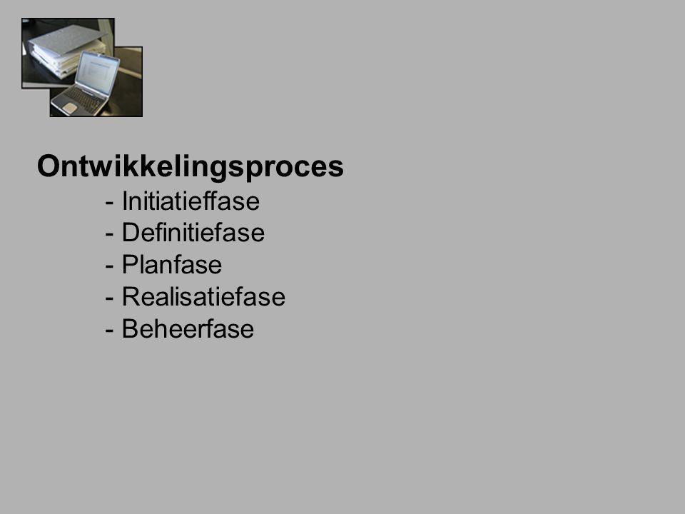 Ontwikkelingsproces - Initiatieffase - Definitiefase - Planfase - Realisatiefase - Beheerfase