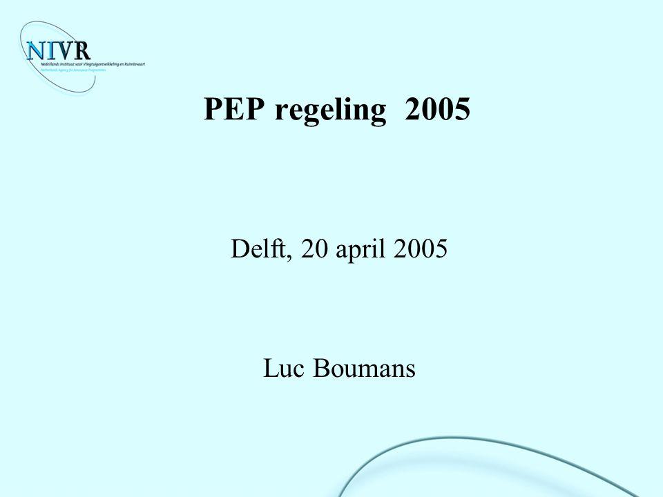 20 april 2005PEP-regeling 200512 PEP Besluitvormingsproces (1) TenderperiodeProjectvoorstelformulier Spelregels (data) Criteria Prioriteiten Ontvangst voorstellen Toetsing met criteria Rangorde vaststellen binnen de prioriteiten Beoordelingsformulier Subsidie alloceren Verdelen voorstellen onder NIVR projectbegeleiders Evaluatie projectvoorstellen