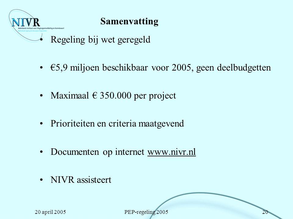 20 april 2005PEP-regeling 200520 Samenvatting Regeling bij wet geregeld €5,9 miljoen beschikbaar voor 2005, geen deelbudgetten Maximaal € 350.000 per