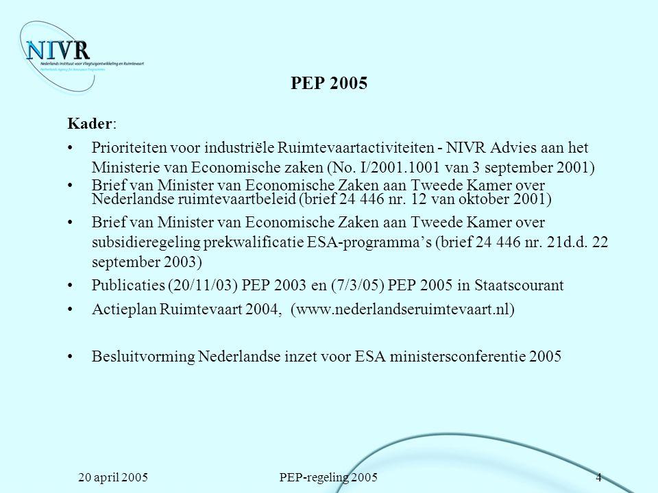 20 april 2005PEP-regeling 200515 Richtlijnen voor aanvragers (2) De werkzaamheden mogen na 1 januari 2005 van start zijn gegaan NIVR subsidie zal maximaal 70% bedragen van de vooraf geraamde projectkosten.