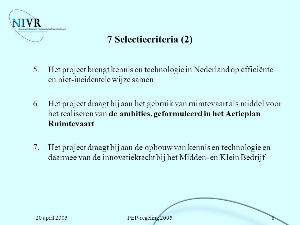 20 april 2005PEP-regeling 20059 Kenmerken PEP 2005 (1) Publicatie in de Staatscourant 7 april 2005 Geen deelbudgetten meer Samenwerkingsovereenkomsten verplicht als bijlage bij de aanvraag (vóórafgaand aan de goedkeurig van het project) Méérjarige projecten mogelijk, maximaal 36 maanden Project moet minimaal 21 punten krijgen Maximaal €350.000 subsidie per project Voorgeschreven rekenmodel uurloonbepaling -Persoonlijk uurloon (1500 uren per jaar) -Vast opslagpercentage indirecte kosten 75% (+5% voor reiskosten bij samenwerkingsverband)