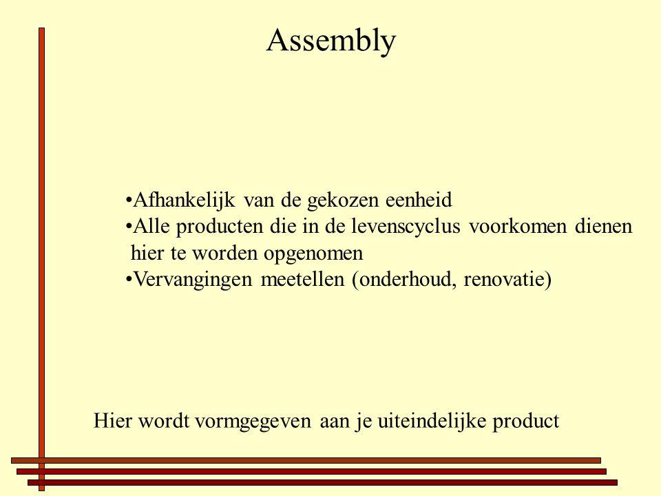 Afhankelijk van de gekozen eenheid Alle producten die in de levenscyclus voorkomen dienen hier te worden opgenomen Vervangingen meetellen (onderhoud, renovatie) Hier wordt vormgegeven aan je uiteindelijke product