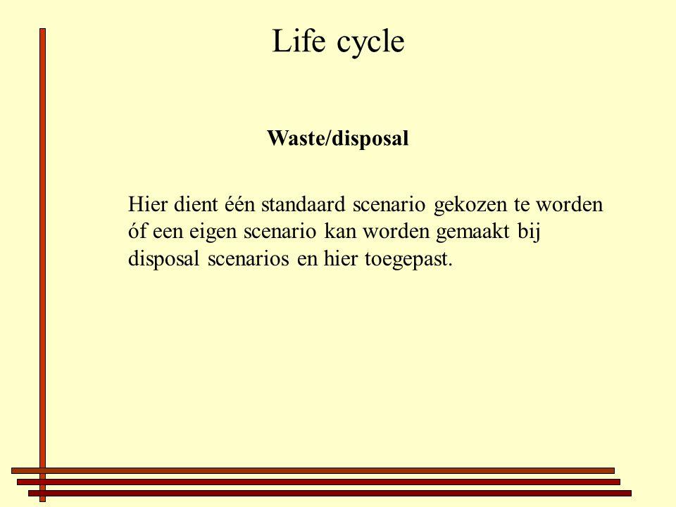 Life cycle Waste/disposal Hier dient één standaard scenario gekozen te worden óf een eigen scenario kan worden gemaakt bij disposal scenarios en hier toegepast.