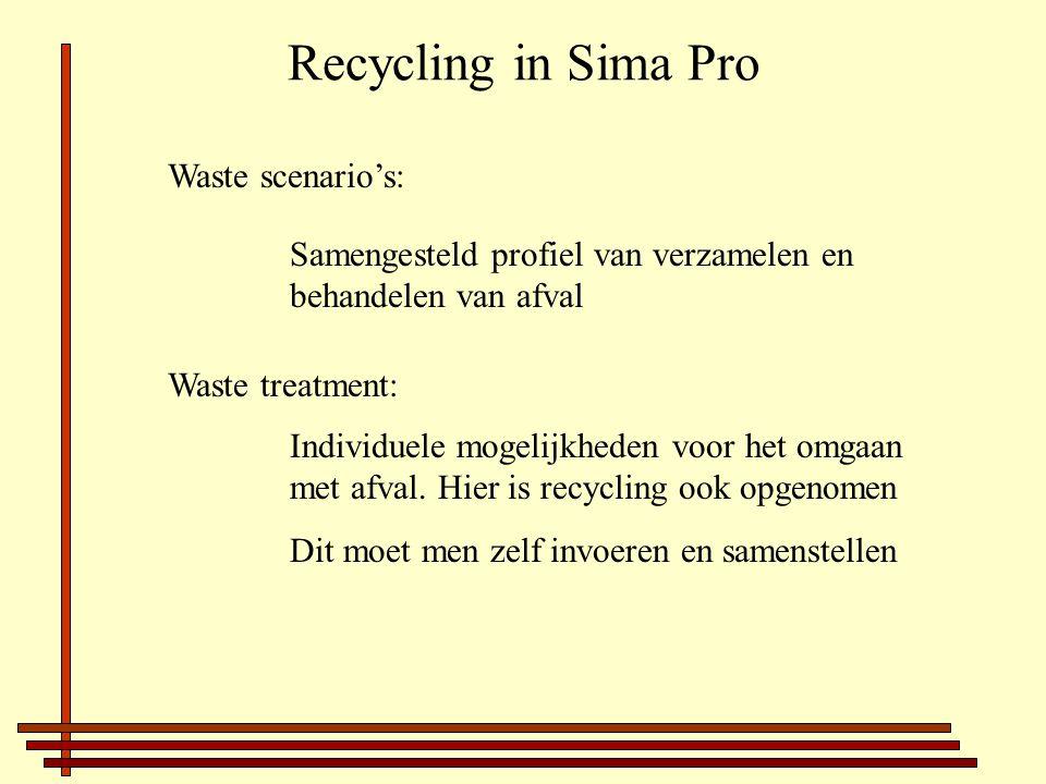 Recycling in Sima Pro Waste scenario's: Samengesteld profiel van verzamelen en behandelen van afval Waste treatment: Individuele mogelijkheden voor het omgaan met afval.