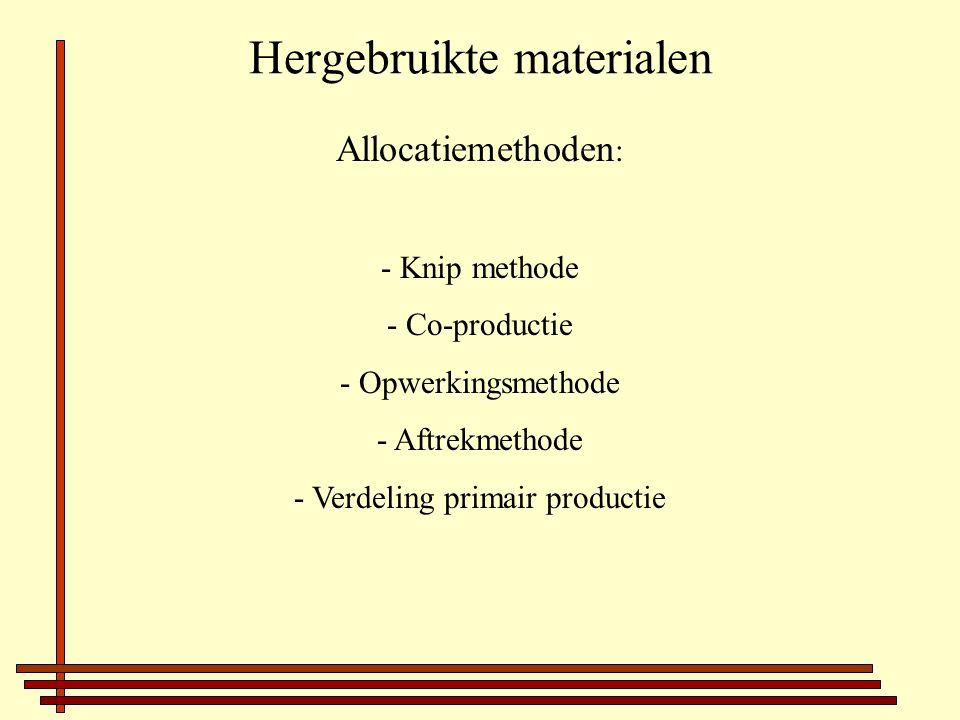 Hergebruikte materialen Allocatiemethoden : - Knip methode - Co-productie - Opwerkingsmethode - Aftrekmethode - Verdeling primair productie