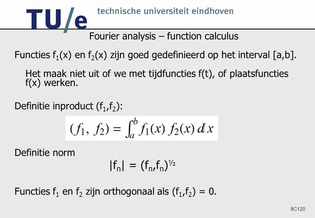 8C120 Fourier analysis – function calculus Functies f 1 (x) en f 2 (x) zijn goed gedefinieerd op het interval [a,b].
