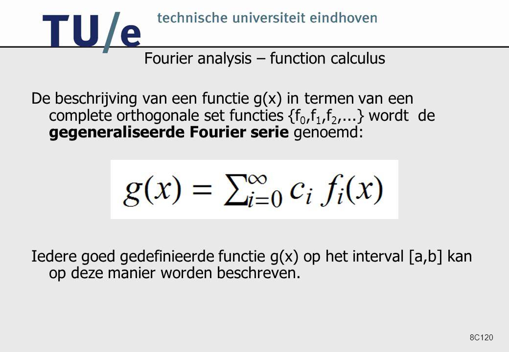 8C120 Fourier analysis – function calculus De beschrijving van een functie g(x) in termen van een complete orthogonale set functies {f 0,f 1,f 2,...} wordt de gegeneraliseerde Fourier serie genoemd: Iedere goed gedefinieerde functie g(x) op het interval [a,b] kan op deze manier worden beschreven.