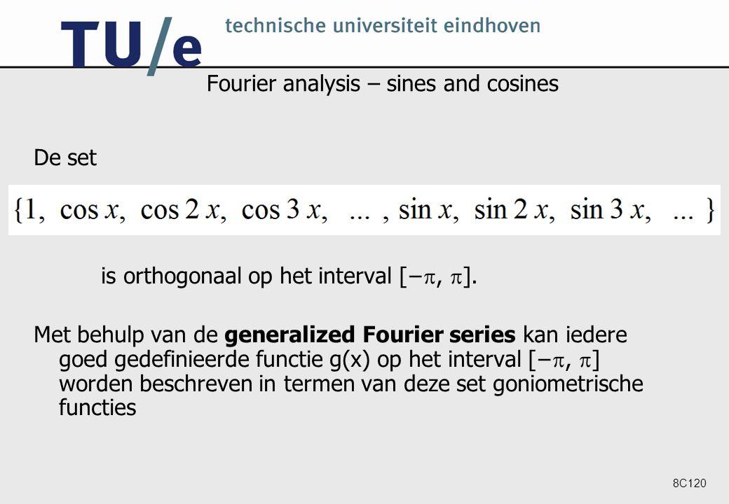 8C120 Fourier analysis – sines and cosines De set is orthogonaal op het interval [− ,  ].
