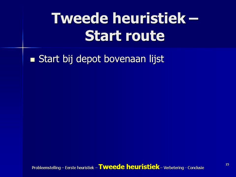 15 Probleemstelling – Eerste heuristiek – Tweede heuristiek – Verbetering - Conclusie Tweede heuristiek – Start route Start bij depot bovenaan lijst S