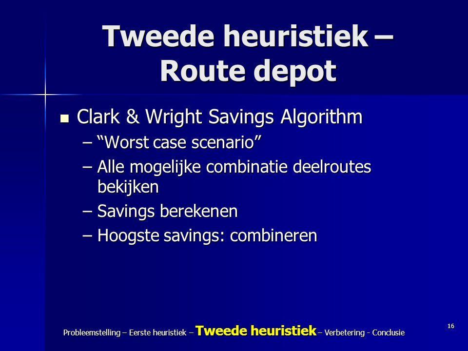 16 Probleemstelling – Eerste heuristiek – Tweede heuristiek – Verbetering - Conclusie Tweede heuristiek – Route depot Clark & Wright Savings Algorithm