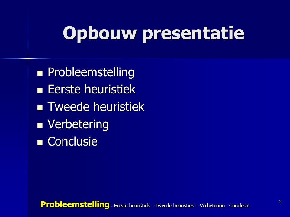 2 Probleemstelling – Eerste heuristiek – Tweede heuristiek – Verbetering - Conclusie Opbouw presentatie Probleemstelling Probleemstelling Eerste heuri