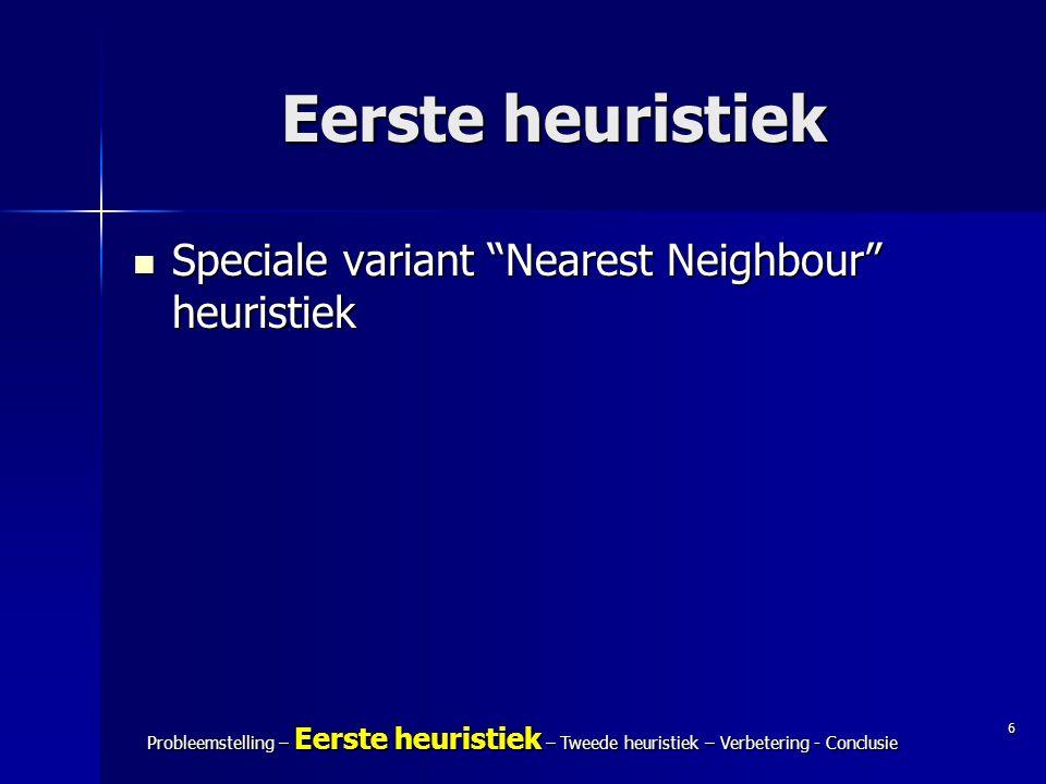 "6 Probleemstelling – Eerste heuristiek – Tweede heuristiek – Verbetering - Conclusie Eerste heuristiek Speciale variant ""Nearest Neighbour"" heuristiek"