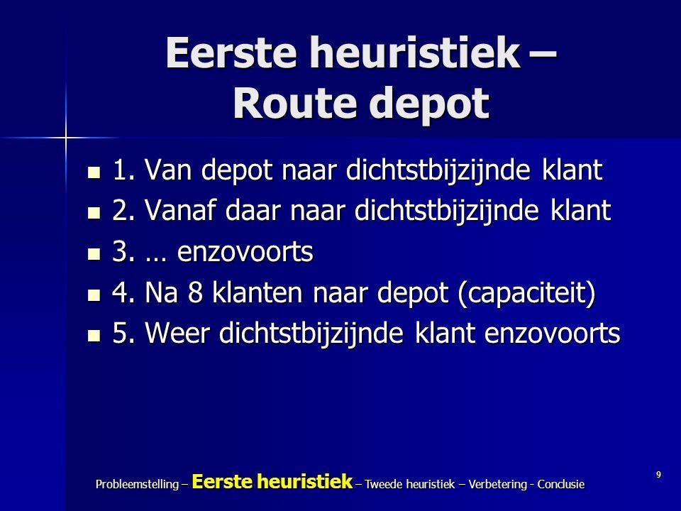9 Probleemstelling – Eerste heuristiek – Tweede heuristiek – Verbetering - Conclusie Eerste heuristiek – Route depot 1. Van depot naar dichtstbijzijnd