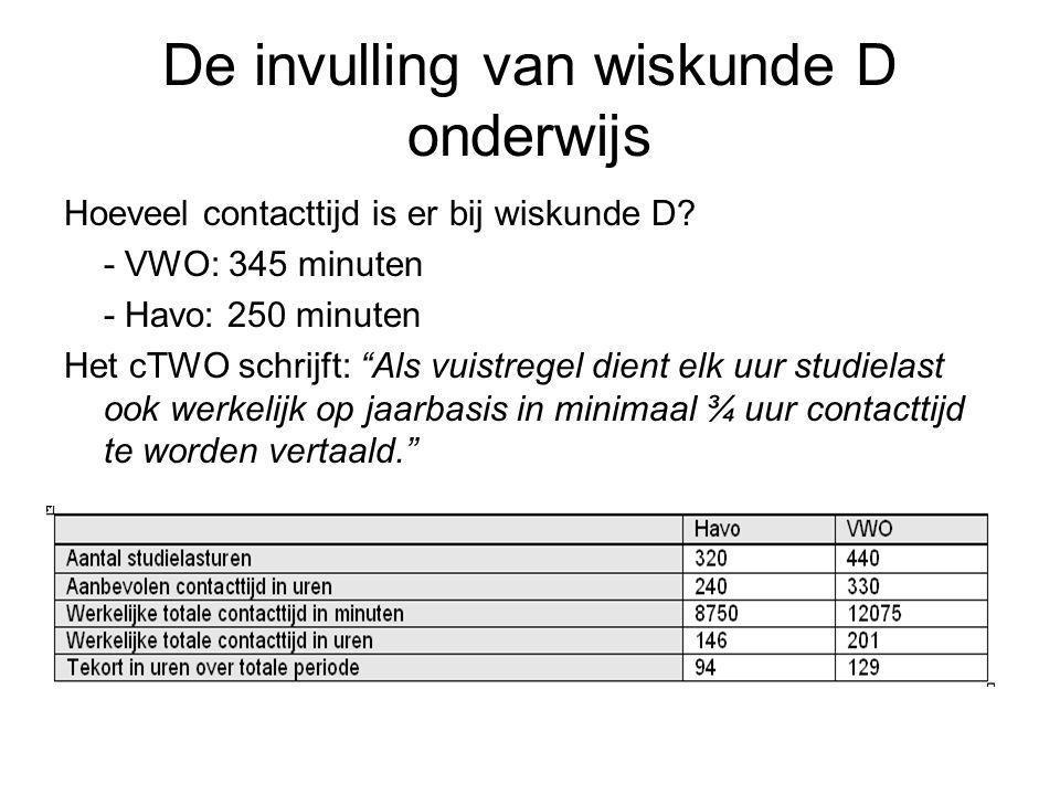 """De invulling van wiskunde D onderwijs Hoeveel contacttijd is er bij wiskunde D? - VWO: 345 minuten - Havo: 250 minuten Het cTWO schrijft: """"Als vuistre"""