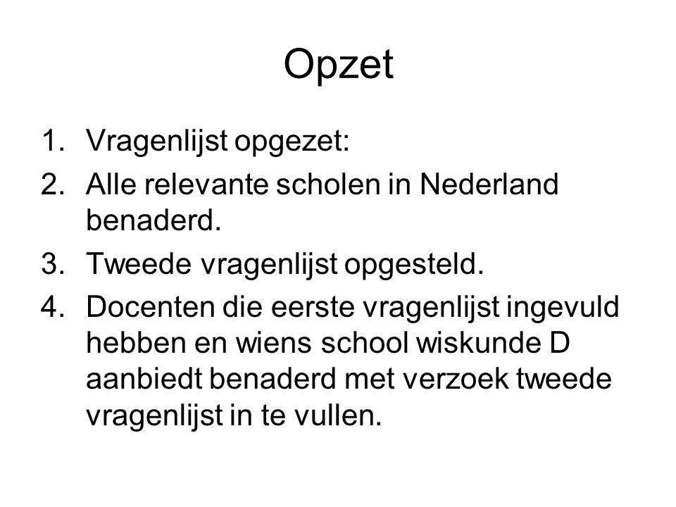 Opzet 1.Vragenlijst opgezet: 2.Alle relevante scholen in Nederland benaderd. 3.Tweede vragenlijst opgesteld. 4.Docenten die eerste vragenlijst ingevul