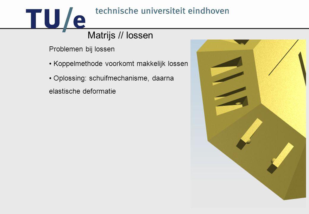 Matrijs // lossen Problemen bij lossen Koppelmethode voorkomt makkelijk lossen Oplossing: schuifmechanisme, daarna elastische deformatie