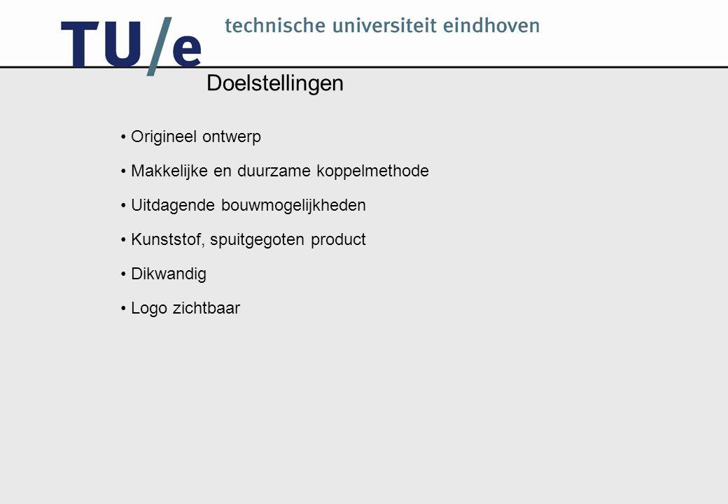 Doelstellingen Origineel ontwerp Makkelijke en duurzame koppelmethode Uitdagende bouwmogelijkheden Kunststof, spuitgegoten product Dikwandig Logo zichtbaar