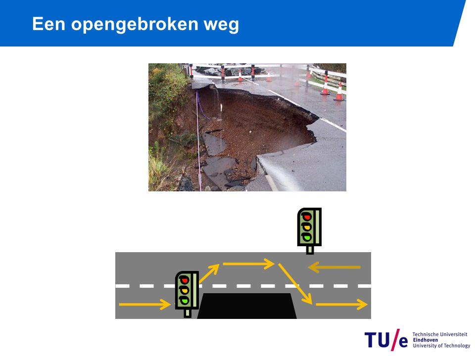 Een opengebroken weg