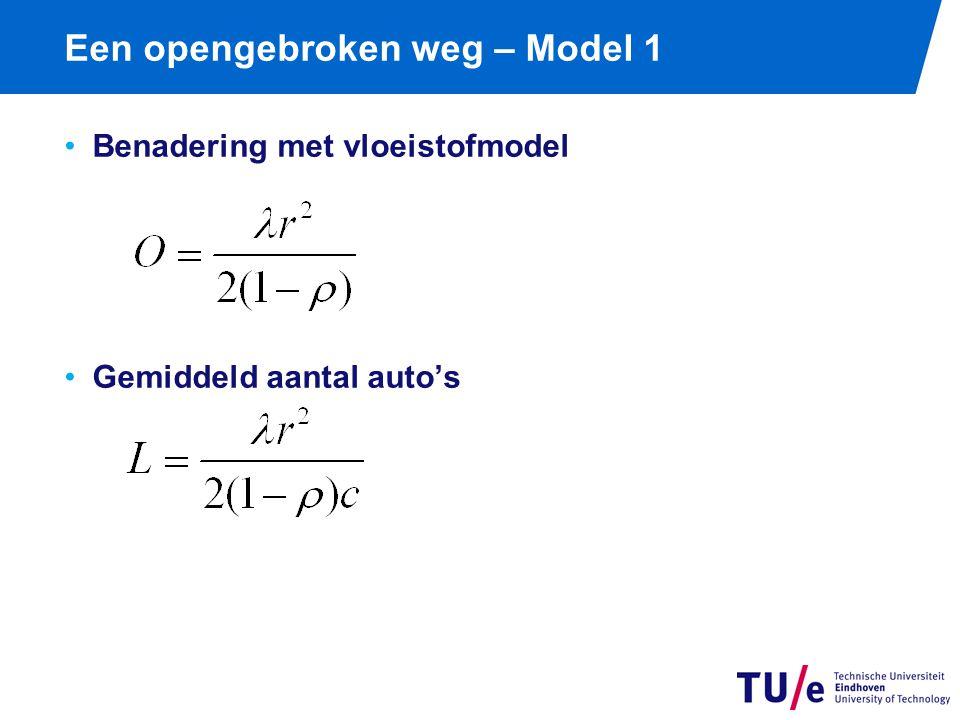 Een opengebroken weg – Model 1 Benadering met vloeistofmodel Gemiddeld aantal auto's