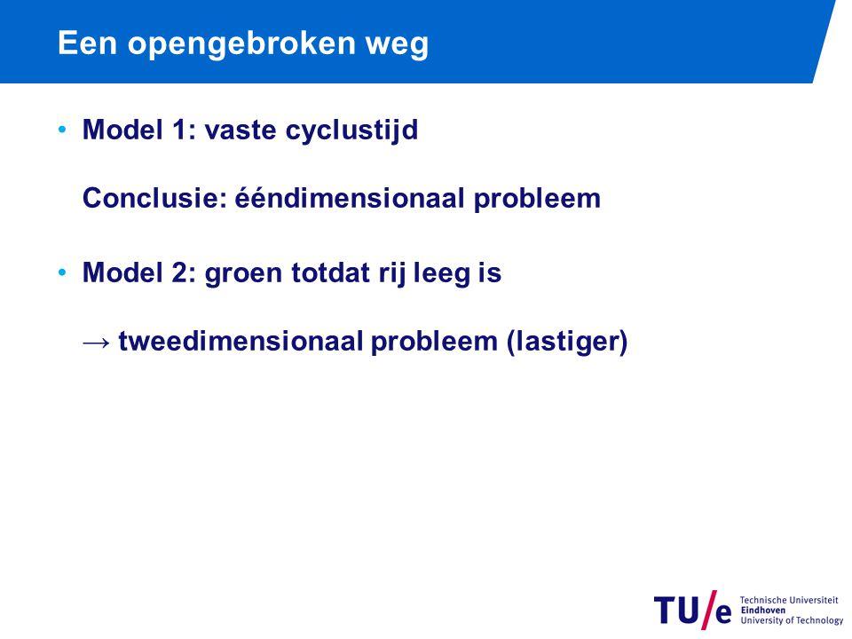 Een opengebroken weg Model 1: vaste cyclustijd Conclusie: ééndimensionaal probleem Model 2: groen totdat rij leeg is → tweedimensionaal probleem (lastiger)