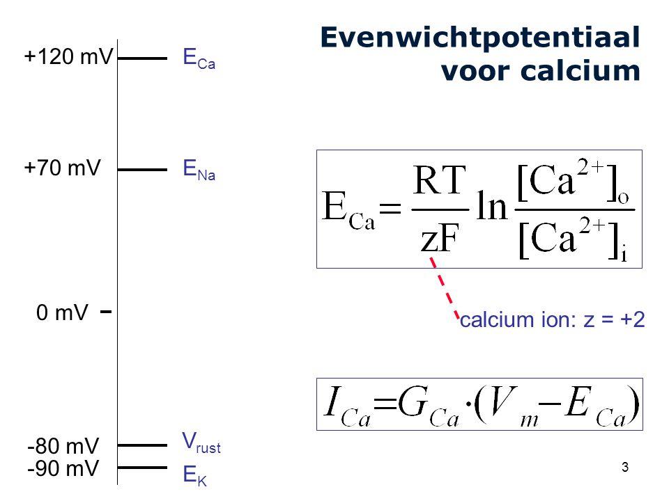 Cardiovascular Research Institute Maastricht (CARIM) 3 Evenwichtpotentiaal voor calcium V rust E Na EKEK +70 mV -80 mV 0 mV -90 mV E Ca +120 mV calcium ion: z = +2