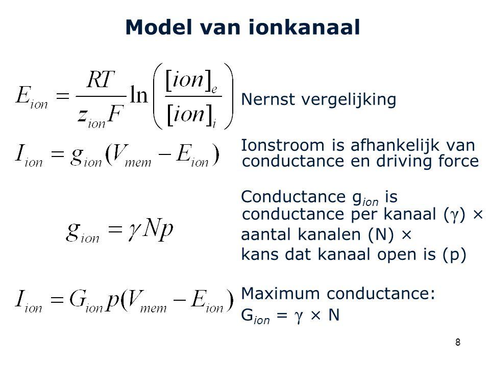 Cardiovascular Research Institute Maastricht (CARIM) 8 Model van ionkanaal Nernst vergelijking Ionstroom is afhankelijk van conductance en driving force Conductance g ion is conductance per kanaal ( γ ) × aantal kanalen (N) × kans dat kanaal open is (p) Maximum conductance: G ion = γ × N