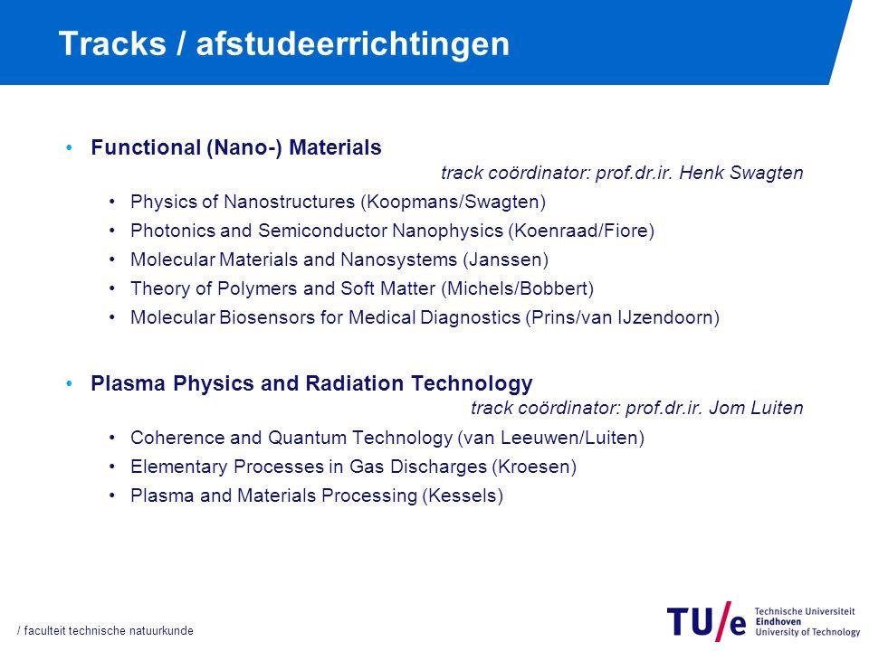 Tracks / afstudeerrichtingen Functional (Nano-) Materials track coördinator: prof.dr.ir. Henk Swagten Physics of Nanostructures (Koopmans/Swagten) Pho