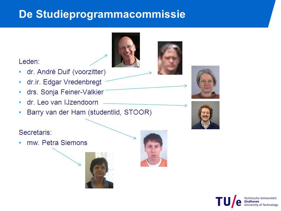 De Studieprogrammacommissie Leden: dr. André Duif (voorzitter) dr.ir. Edgar Vredenbregt drs. Sonja Feiner-Valkier dr. Leo van IJzendoorn Barry van der