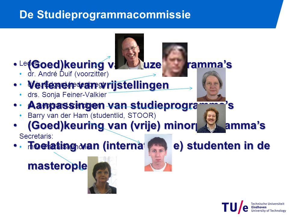 (Goed)keuring van keuzeprogramma's(Goed)keuring van keuzeprogramma's Verlenen van vrijstellingenVerlenen van vrijstellingen Aanpassingen van studieprogramma'sAanpassingen van studieprogramma's (Goed)keuring van (vrije) minorprogramma's(Goed)keuring van (vrije) minorprogramma's Toelating van (internationale) studenten in de masteropleidingToelating van (internationale) studenten in de masteropleiding Leden: dr.