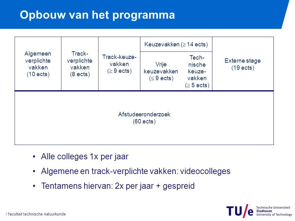 Onderwijs en ExamenRegeling (OER) Hierin staan alle opleidingseisen Iedere opleiding heeft zijn eigen OER Zijn te vinden op www.phys.tue.nl/nl/onderwijs/reglementen Hier staan ook de examenreglementen van de opleidingen Aanvullende regels staan in de opleidingsgids: www.phys.tue.nl/nl/onderwijs / faculteit technische natuurkunde