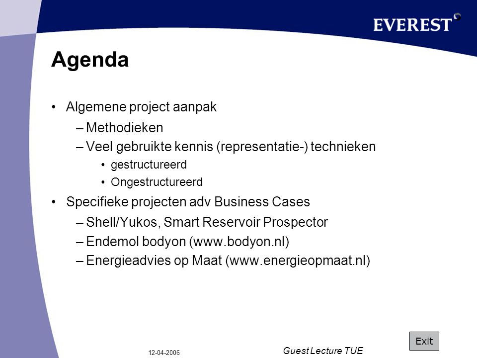 12-04-2006 Guest Lecture TUE Algemene Projectaanpak