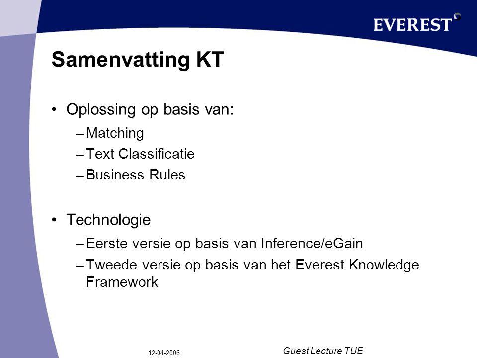 12-04-2006 Guest Lecture TUE Samenvatting KT Oplossing op basis van: –Matching –Text Classificatie –Business Rules Technologie –Eerste versie op basis van Inference/eGain –Tweede versie op basis van het Everest Knowledge Framework