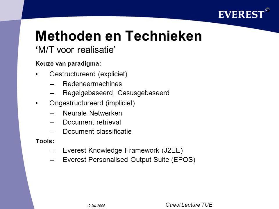 12-04-2006 Guest Lecture TUE Gestructureerde Kennis Modelmatige oplossing –Kennismodellen vormen de basis (bijv.