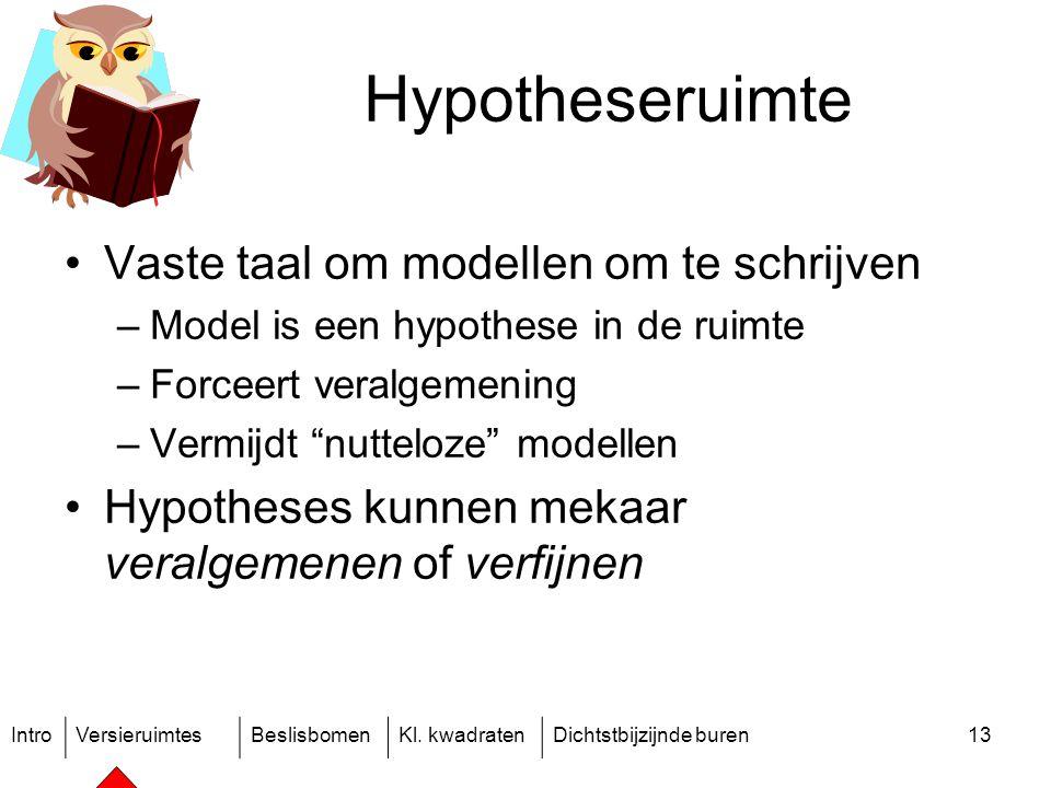 IntroVersieruimtesBeslisbomenKl. kwadratenDichtstbijzijnde buren13 Hypotheseruimte Vaste taal om modellen om te schrijven –Model is een hypothese in d