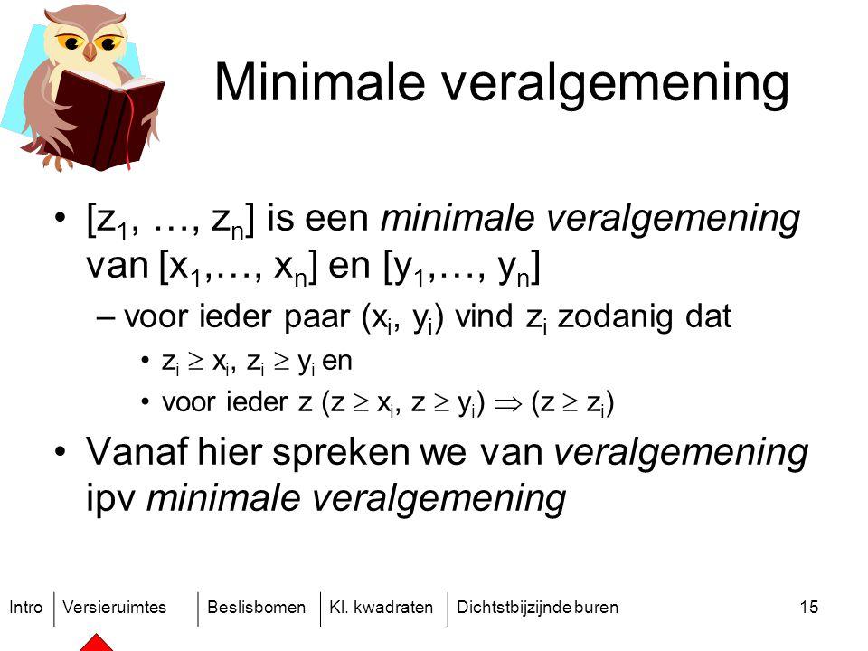 IntroVersieruimtesBeslisbomenKl. kwadratenDichtstbijzijnde buren15 Minimale veralgemening [z 1, …, z n ] is een minimale veralgemening van [x 1,…, x n