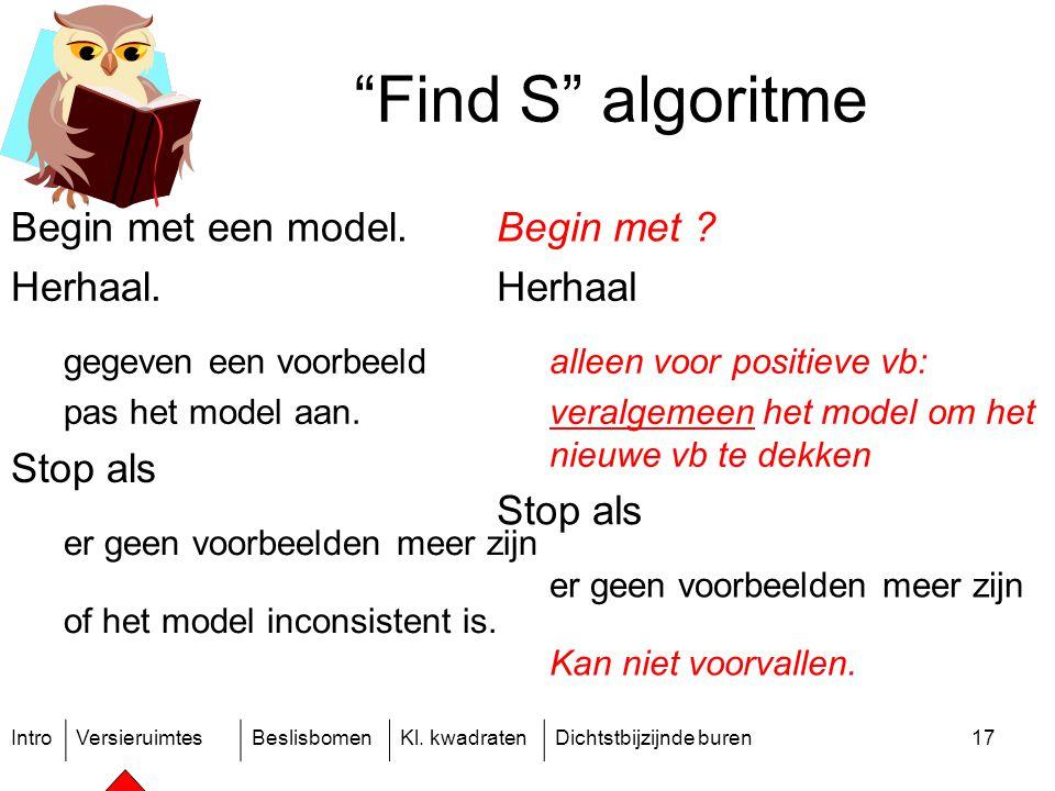 """IntroVersieruimtesBeslisbomenKl. kwadratenDichtstbijzijnde buren17 """"Find S"""" algoritme Begin met een model. Herhaal. gegeven een voorbeeld pas het mode"""