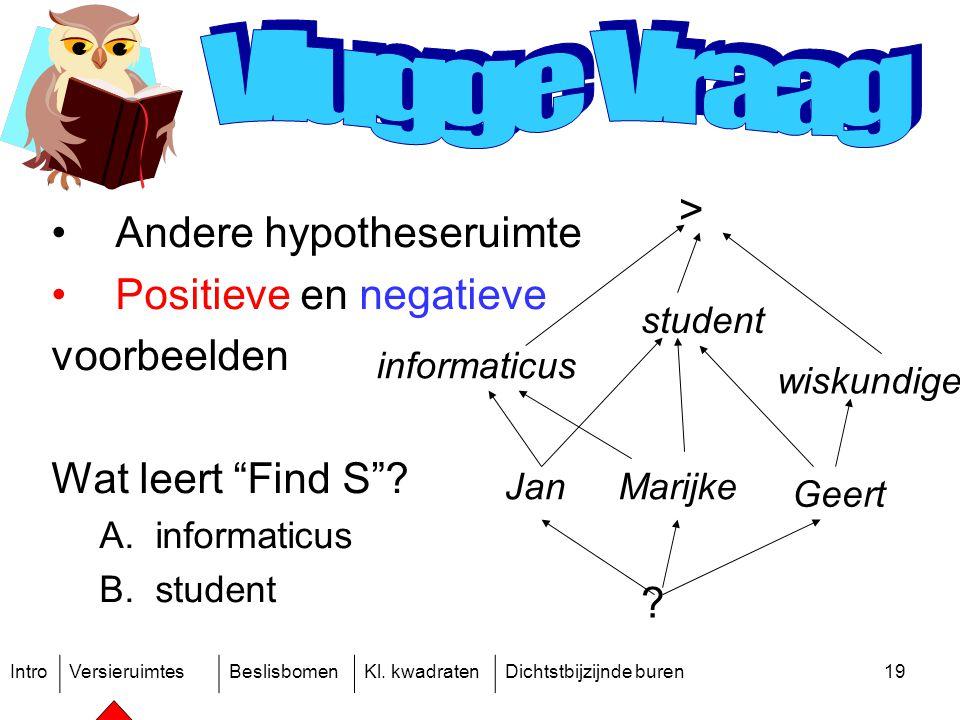 """IntroVersieruimtesBeslisbomenKl. kwadratenDichtstbijzijnde buren19 Andere hypotheseruimte Positieve en negatieve voorbeelden Wat leert """"Find S""""? A.inf"""