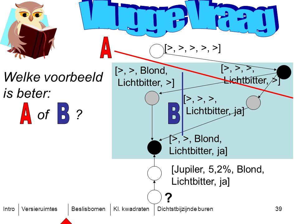 IntroVersieruimtesBeslisbomenKl. kwadratenDichtstbijzijnde buren39 ? [>, >, >, >, >] [>, >, >, Lichtbitter, >] [Jupiler, 5,2%, Blond, Lichtbitter, ja]