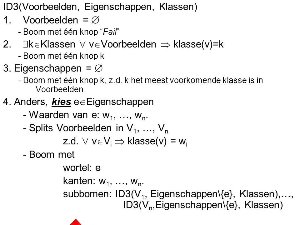 """IntroVersieruimtesBeslisbomenKl. kwadratenDichtstbijzijnde buren42 ID3(Voorbeelden, Eigenschappen, Klassen) 1.Voorbeelden =  - Boom met één knop """"Fai"""